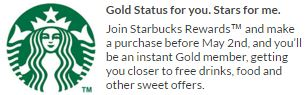 Become Starbucks Gold member with just one purchase